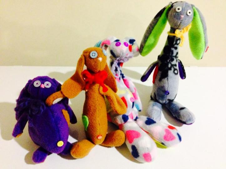 I've recently picked up a new hobby--sewing. It all started with an idea to make a dopey looking rabbit (the purple one) and has ballooned from there! It's so relaxing and a great outlet. Love it.